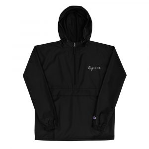 A hooded black jacket with an embroidered stay solid in the top left corner
