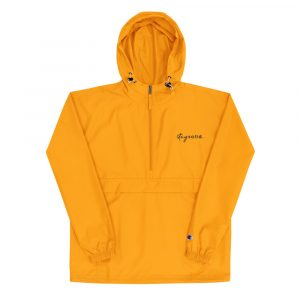 A hooded yellow jacket with an embroidered stay solid in the top left corner
