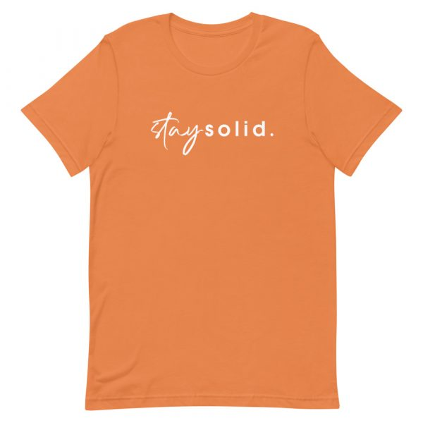 """A burnt orange unisex t-shirt with """"stay solid"""" printed in white in the center of the shirt"""